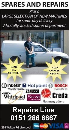 Same day Domestic Appliance repairs in Liverpool, Merseyside